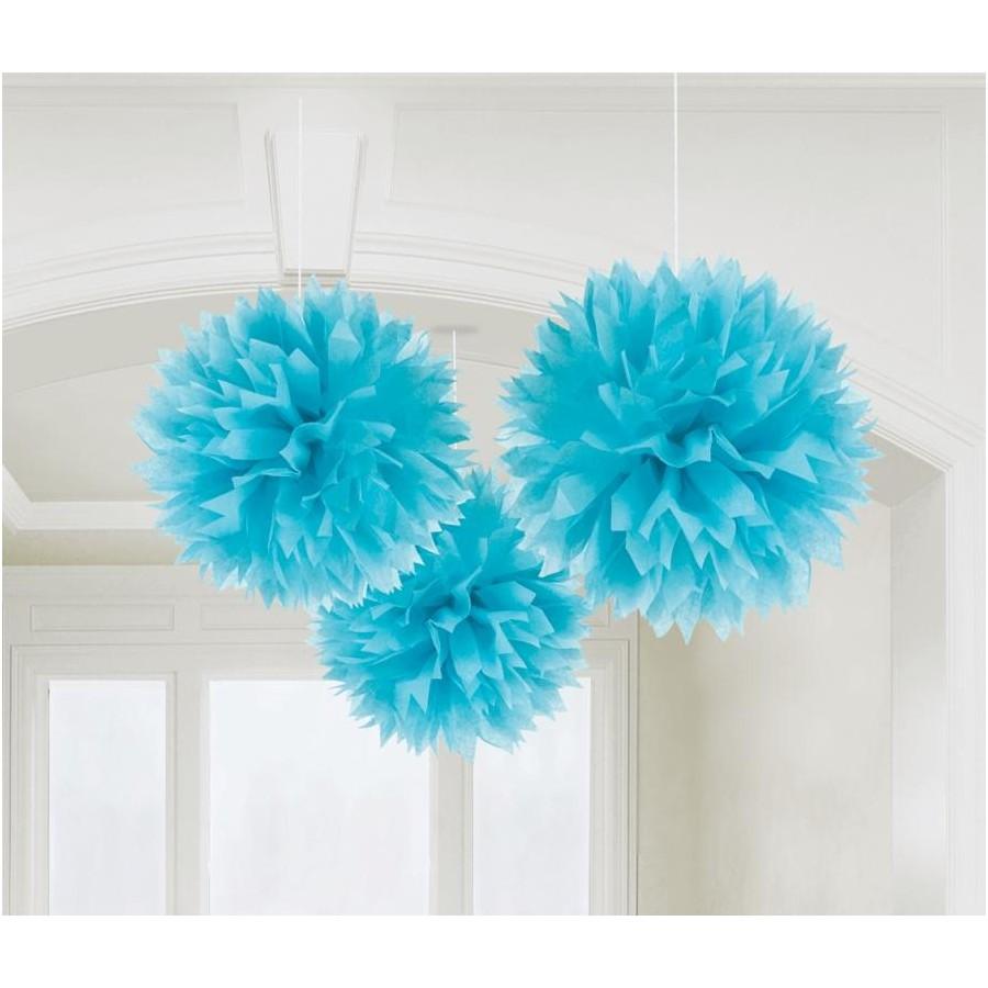 decoracao-de-pendurar-bola-pouf azul