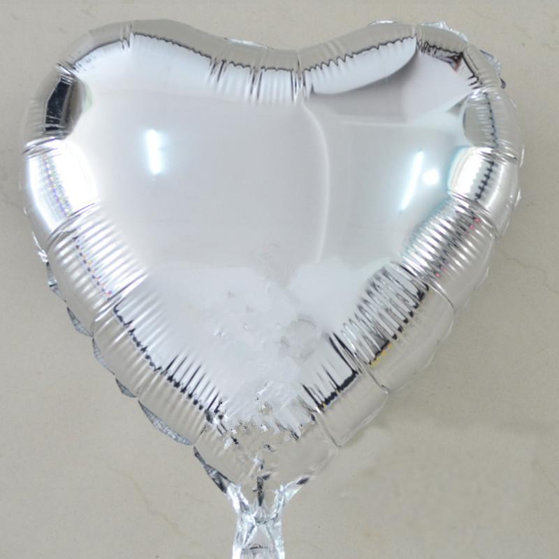 Balao Metalizado Coracao prata